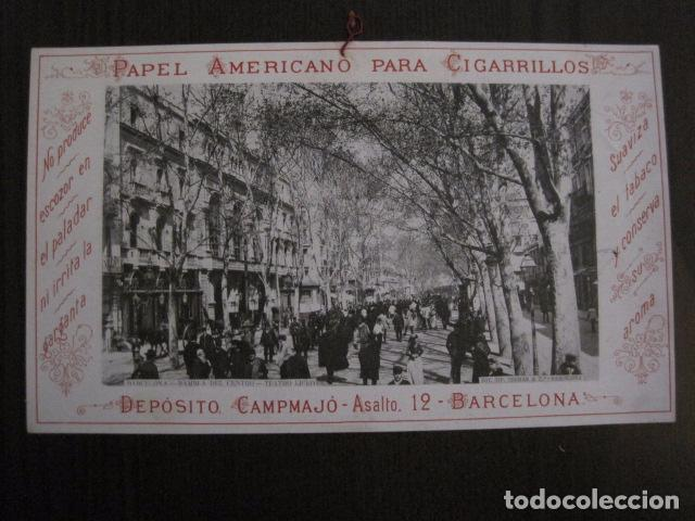 PAPEL DE FUMAR AMERICANO PARA CIGARRILLOS-CAMPMAJO-BARCELONA -PEQUEÑO CARTEL- VER FOTOS - (V-12.751) (Coleccionismo - Objetos para Fumar - Papel de fumar )