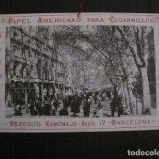 Papel de fumar: PAPEL DE FUMAR AMERICANO PARA CIGARRILLOS-CAMPMAJO-BARCELONA -PEQUEÑO CARTEL- VER FOTOS - (V-12.751). Lote 104391883