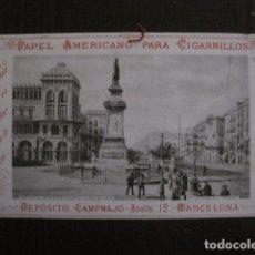 Papel de fumar: PAPEL DE FUMAR AMERICANO PARA CIGARRILLOS-CAMPMAJO-BARCELONA -PEQUEÑO CARTEL- VER FOTOS - (V-12.752). Lote 104392063