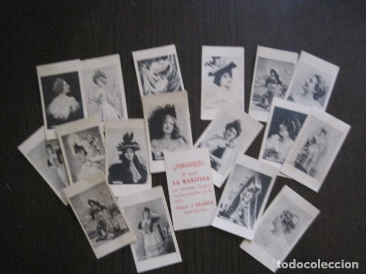LOTE 18 CROMOS ANTIGUOS - PAPEL DE FUMAR - LA MARIPOSA - J.VILASECA -VER FOTOS -(V-14.168) (Coleccionismo - Objetos para Fumar - Papel de fumar )