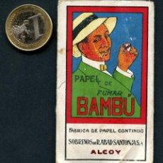 Papel de fumar: LIBRITO, PAPEL DE FUMAR PUBLICITARIO, ABAD SANTONJA, BAMBÚ, ALCOY. Lote 118804879