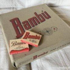 Papel de fumar: CAJA DE 100 LIBRILLOS DE PAPEL DE FUMAR BAMBÚ. ALCOY 1930. Lote 121630695