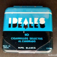 Papel de fumar: ANTIGUO ESTUCHE DE METALDE PAPEL DE FUMAR,IDEALES,CIGARRILLOS SELECTOS AL CUADRADO (DESCRIPCIÓN). Lote 130043251