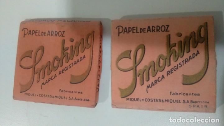 LIBRITOS DE PAPEL DE FUMAR SMOKING CAJA ROSA USADAS (Coleccionismo - Objetos para Fumar - Papel de fumar )