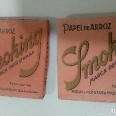 Papel de fumar: LIBRITOS DE PAPEL DE FUMAR SMOKING CAJA ROSA USADAS. Lote 132340402