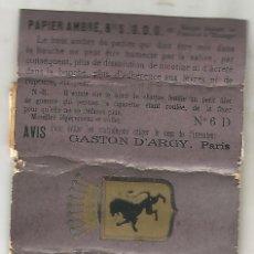 Papel de fumar: PAPEL DE FUMAR PAPIER AMBRE LIBRILLO COMPLETO Nº 6 D GASTON D'ARGY PARIS. Lote 134022190