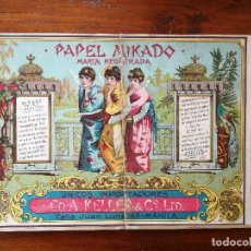 Papel de fumar: CARTEL DE PAPEL DE FUMAR MIKADO 27,5 X 18 CM - SIGLO XIX - MANILA - EDUARD A. KELLER & CO. Lote 137901558