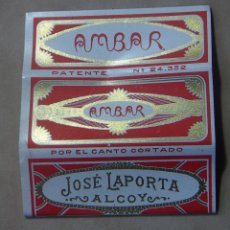 Papel de fumar: ANTIGUO PAPEL DE FUMAR AMBAR JOSE LAPORTA. ALCOY.. Lote 139682930