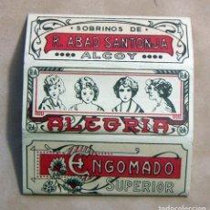Papel de fumar: ANTIGUO PAPEL DE FUMAR ALEGRIA SOBRINOS DE R. ABAD SANTONJA ALCOY. Lote 139683302