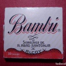 Papel de fumar: PAPEL DE FUMAR - BAMBU - SOBRINOS DE R. ABAD - SANTONJA - ALCOY. Lote 142359738