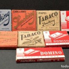 Papel de fumar: LOTE 8 ANTIGUOS LIBRILLOS DE PAPEL DE FUMAR SMOKING Y DOMINO ENTEROS SIN EMPEZAR. Lote 194728258