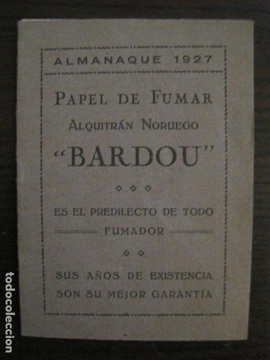 PAPEL DE FUMAR-ALMANAQUE AÑO 1927- PUBLICIDAD PAPEL DE ALQUITRAN NORUEGO BARDOU-VER FOTOS-(V-15.890) (Coleccionismo - Objetos para Fumar - Papel de fumar )