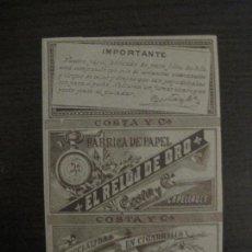 Papel de fumar: ENVOLTORIO PAPEL DE FUMAR-EL RELOJ DE ORO-COSTA-CAPELLADES-SIGLO XIX-VER FOTOS-(58.272). Lote 158455442