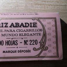Papel de fumar: PAQUETE DE 500 HOJAS DE PAPEL DE FUMAR RIZ ABADIE, NUMERO 220 TAL Y COMO SE VE EN LAS FOTOS. Lote 159302538