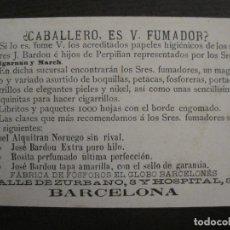 Papel de fumar: PAPEL ALQUITRAN NORUEGO-JOSE BARDOU HIJOS-BARCELONA-CROMO ANTIGUO PAPEL DE FUMAR-VER FOTOS-(59.250). Lote 163390202