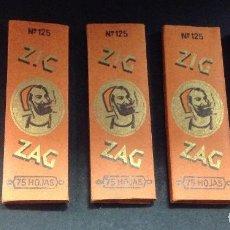 Papel de fumar: LOTE DE 5 LIBRITOS DE PAPEL DE FUMAR ZIG ZAG, Nº 125, 75 HOJAS, VALLADOLID. Lote 164822682