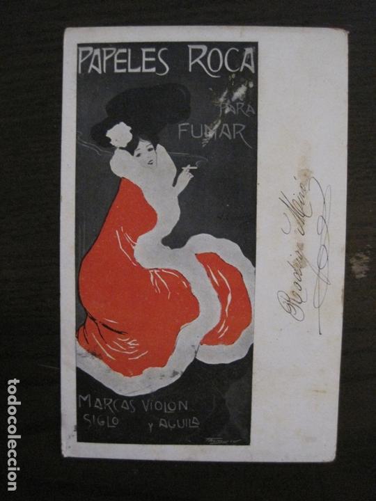 PAPEL DE FUMAR ROCA-POSTAL PUBLICITARIA MODERNISTA-VER FOTOS-(59.905) (Coleccionismo - Objetos para Fumar - Papel de fumar )