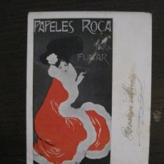 Papel de fumar: PAPEL DE FUMAR ROCA-POSTAL PUBLICITARIA MODERNISTA-VER FOTOS-(59.905). Lote 166815362