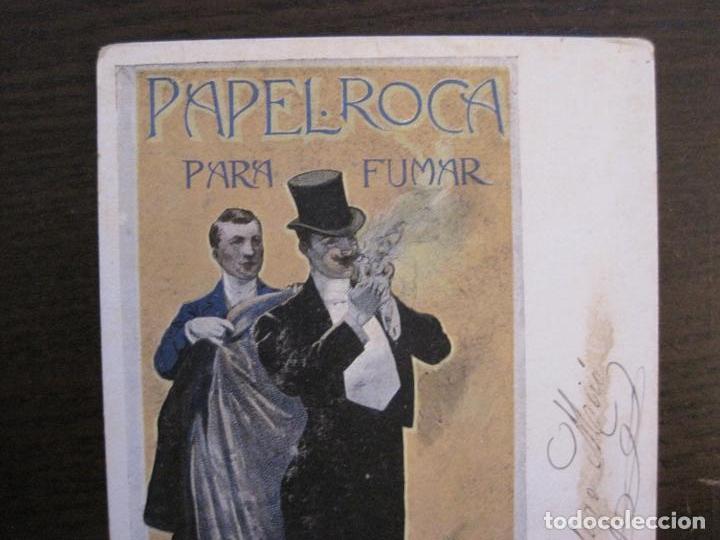 Papel de fumar: PAPEL DE FUMAR ROCA-POSTAL PUBLICITARIA MODERNISTA-REVERSO SIN DIVIDIR-VER FOTOS-(59.906) - Foto 2 - 166815638