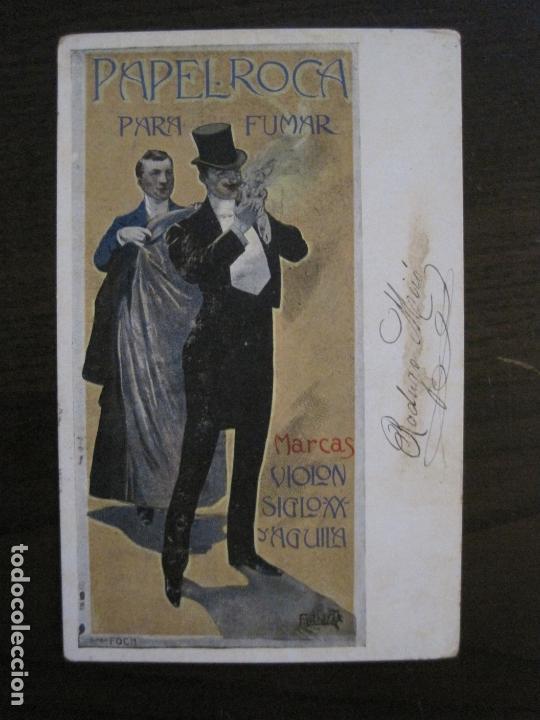 PAPEL DE FUMAR ROCA-POSTAL PUBLICITARIA MODERNISTA-REVERSO SIN DIVIDIR-VER FOTOS-(59.906) (Coleccionismo - Objetos para Fumar - Papel de fumar )
