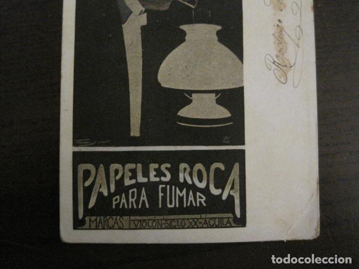 Papel de fumar: PAPEL DE FUMAR ROCA-POSTAL PUBLICITARIA MODERNISTA-REVERSO SIN DIVIDIR-VER FOTOS-(59.907) - Foto 3 - 166815762