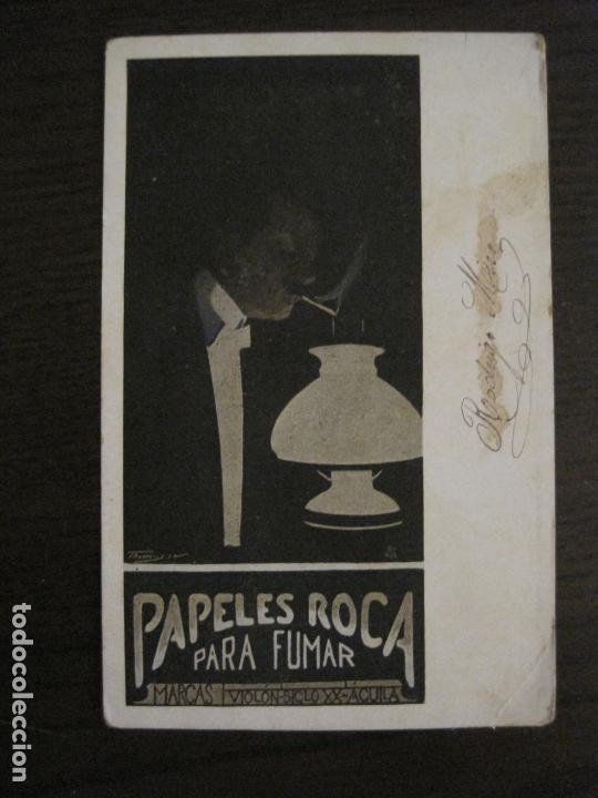 Papel de fumar: PAPEL DE FUMAR ROCA-POSTAL PUBLICITARIA MODERNISTA-REVERSO SIN DIVIDIR-VER FOTOS-(59.907) - Foto 6 - 166815762