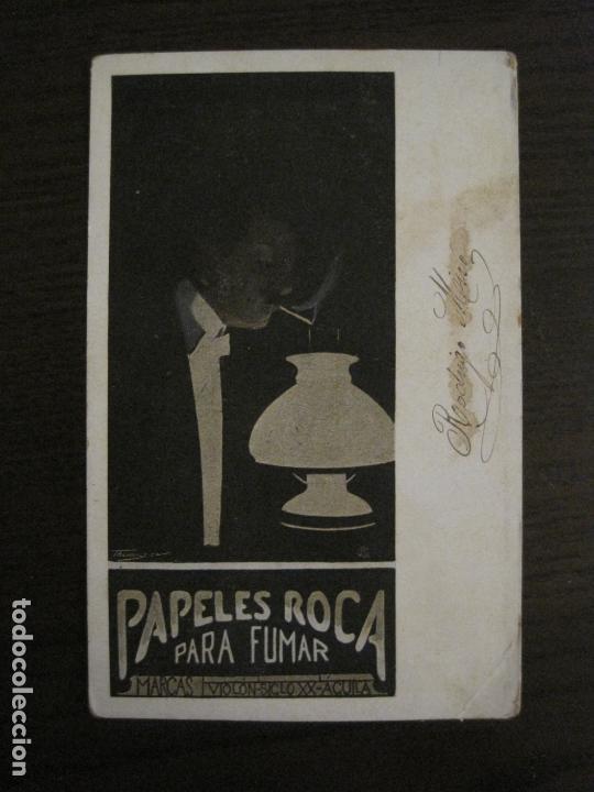 PAPEL DE FUMAR ROCA-POSTAL PUBLICITARIA MODERNISTA-REVERSO SIN DIVIDIR-VER FOTOS-(59.907) (Coleccionismo - Objetos para Fumar - Papel de fumar )