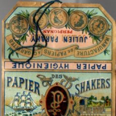 Papel de fumar: PAPEL DE FUMAR PAPIER DES SHAKERS NO 5, OLD, FULL PACKET. Lote 173916695