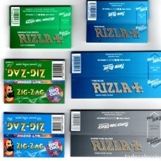 Papel de fumar: PAPEL DE FUMAR, SMOKING PAPER RIZLA, ZIG-ZAG, X 6 DIFFERENT, FULL PACKETS.. Lote 175763818