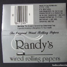 Papel para cigarros: PAPEL DE FUMAR RANDY'S WIRED ROLLING PAPERS CON ALAMBRE MADE IN USA. Lote 176540278