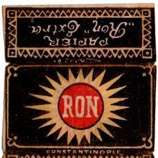 Papel de fumar: PAPEL DE FUMAR, CIGARETTE PAPER; RON, COVER ONLY. Lote 178281868