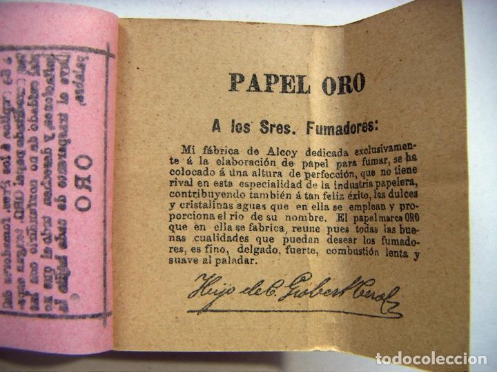 Papel de fumar: PAPEL DE FUMAR - PAPEL ORO - HIJOS DE C. GISBERT TEROL - ALCOY - Foto 3 - 178872655