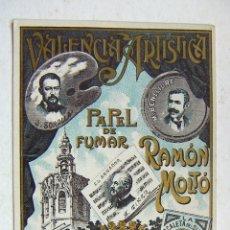 Papel de fumar: ENVOLTORIO PAPEL DE FUMAR - VALENCIA ARTISTICA RAMON MOLTÖ PERFECTO SIN DOBLAR. Lote 178917415