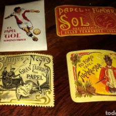 Papel de fumar: CUATRO SELLOS DIFERENTES, PUBLICIDAD PAPEL DE FUMAR. Lote 181215931