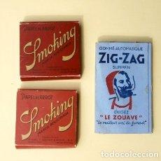 Papel de fumar: LOTE 3 LIBRITOS DE PAPEL DE FUMAR SMOKING Y ZIG-ZAG Nº 601 BIS - PAPEL DE ARROZ. Lote 181602970