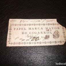 Papel de fumar: SIGLO XVIII-XIX PAPEL DE FUMAR MARCA MAYOR DE CIGARROS TABACO. Lote 182412628