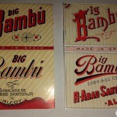 Papel de fumar: DOS LIBRITOS DIFERENTES PAPEL DE FUMAR BIG BAMBÚ. Lote 206487993