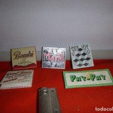 Papel de fumar: LOTE, 5 LIBRITOS PAPEL FUMAR, CON MECHERO MARTILLO DE GASOLINA. Lote 183016016