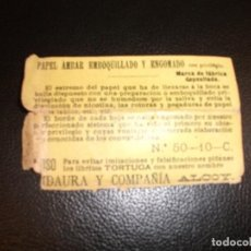 Papel de fumar: SIGLO XIX PAPEL DE FUMAR AMBAR EMBOQUILLADO Y ENGOMADO.LIBRITO TORTUGA DE ALCOY RIDAURA ALICANTE. Lote 185781760