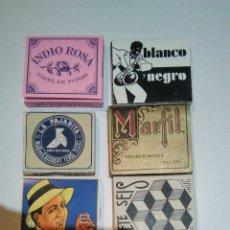Papel de fumar: 7 LIBRILLOS DE PAPEL FUMAR DIFERENTES ,Y UN PORTA LIBRILLO METALICO, ALCOY , AÑOS 30. Lote 185781765