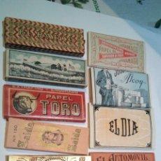 Papier à rouler: 12 LIBRILLOS PAPEL DE FUMAR, JARAMAGO TORO ZAIDA CANOA BAMBU EL DIA EL BARCO EL AUTOMOVIL , AÑOS 30. Lote 185783773