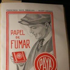 Papel de fumar: PAPEL DE FUMAR PAYA. ANUCIO EN PAPEL 20X25CM TOTAL DE LA HOJA. AÑOS 20. DE LIBRO. Lote 186543475
