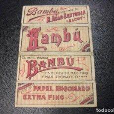 Papel de fumar: ANTIGUO PAPEL DE FUMAR BAMBÚ SOBRINOS DE R. ABAD SANTONJA ALCOY ALICANTE. Lote 190712411