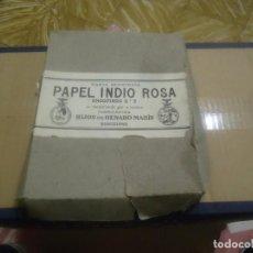 Papel de fumar: ANTIGUA CAJA DE PAPEL DE FUMAR MARCA EL INDIO ROSA,HIJOS DE GENARO MARIN,BARCELONA.. Lote 191401173