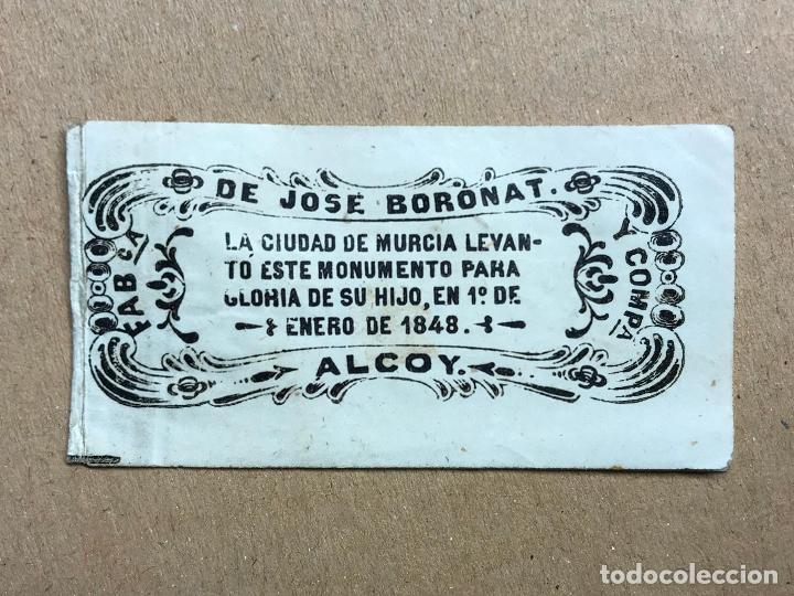 PAPEL DE FUMAR 1848 FABRICA DE JOSE BORONAT ALCOY INAUGURACION DEL MONUMENTO A FLORIDABLANCA TABACO (Coleccionismo - Objetos para Fumar - Papel de fumar )