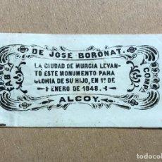 Papel de fumar: PAPEL DE FUMAR 1848 FABRICA DE JOSE BORONAT ALCOY INAUGURACION DEL MONUMENTO A FLORIDABLANCA TABACO. Lote 191940533