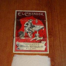 Papel de fumar: EL CAZADOR FABRICANTES MIGUEL BOTELLA Y HO ALCOY. CONSERVA 8 PAPELILLOS. Lote 192130685