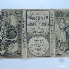 Papel de fumar: ENVOLTURA O PARTE DE ELLA DE UN LIBRILLO PAPEL DE FUMAR. MIGUEL GARCÍA. CATALANA. BARCELONA. FINALES. Lote 194082497