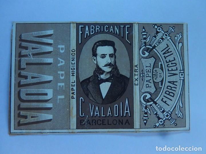 ENVOLTURA O PARTE DE ELLA DE UN LIBRILLO PAPEL DE FUMAR. FABRICANTE C. VALADIA. BARCELONA. FINALES (Coleccionismo - Objetos para Fumar - Papel de fumar )
