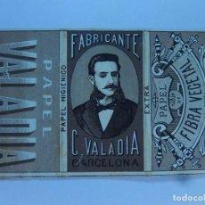 Papel de fumar: ENVOLTURA O PARTE DE ELLA DE UN LIBRILLO PAPEL DE FUMAR. FABRICANTE C. VALADIA. BARCELONA. FINALES . Lote 194084013